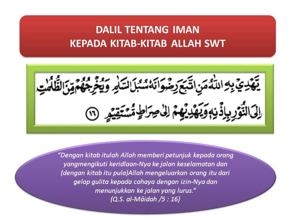DALIL TENTANG AL-QUR'AN Dia menurunkan Kitab (al-Qur'ān) kepadamu (Muhammad) yang mengandung kebenaran, membenarkan (kitab-kitab) sebelumnya, dan menurunkan Taurat dan Injil. (Q.S.