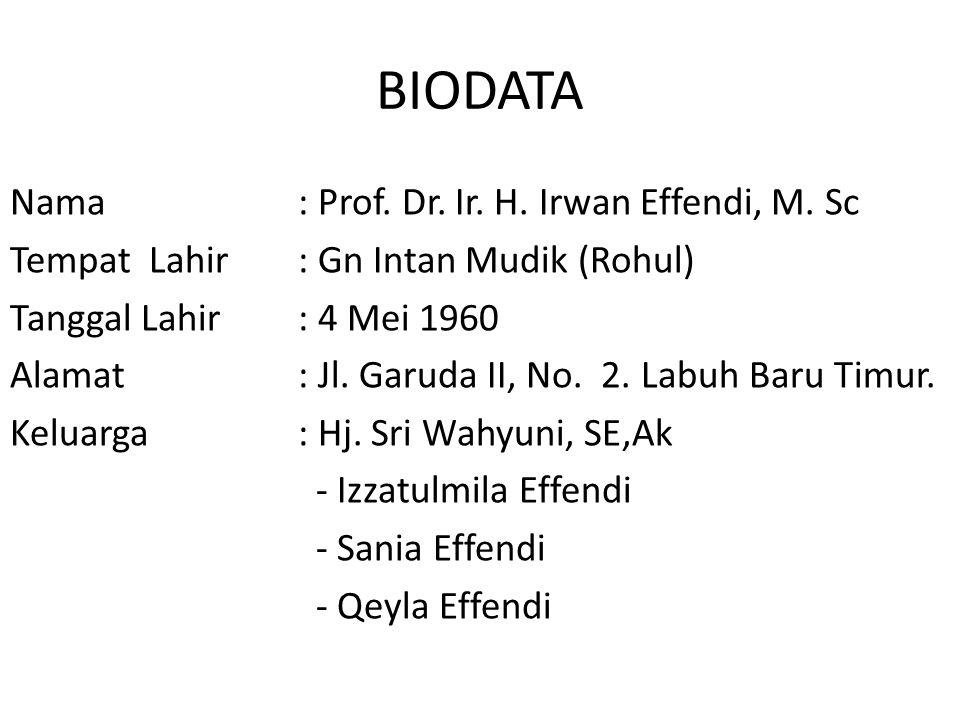BIODATA Nama: Prof. Dr. Ir. H. Irwan Effendi, M. Sc Tempat Lahir: Gn Intan Mudik (Rohul) Tanggal Lahir: 4 Mei 1960 Alamat: Jl. Garuda II, No. 2. Labuh