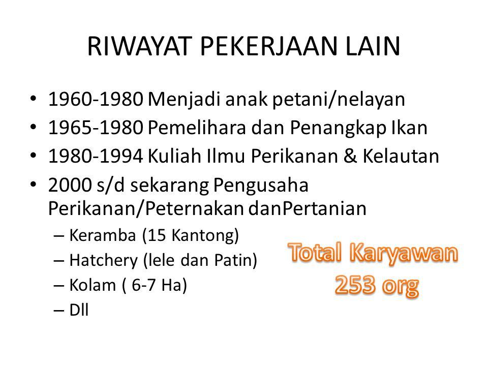 RIWAYAT PEKERJAAN LAIN 1960-1980 Menjadi anak petani/nelayan 1965-1980 Pemelihara dan Penangkap Ikan 1980-1994 Kuliah Ilmu Perikanan & Kelautan 2000 s