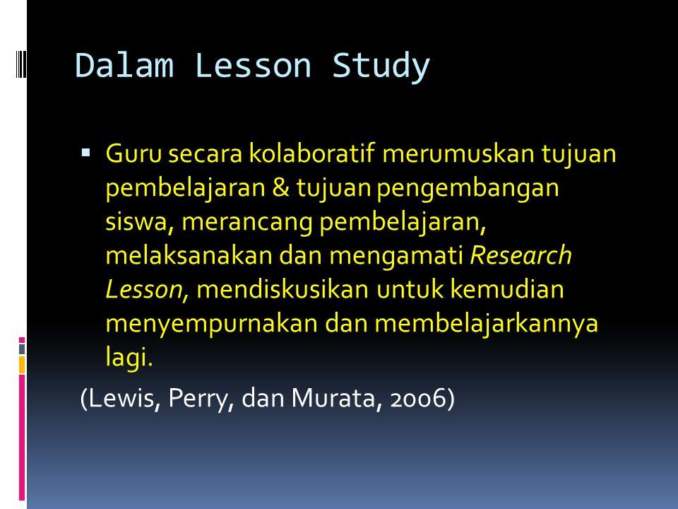 Dalam Lesson Study  Guru secara kolaboratif merumuskan tujuan pembelajaran & tujuan pengembangan siswa, merancang pembelajaran, melaksanakan dan meng