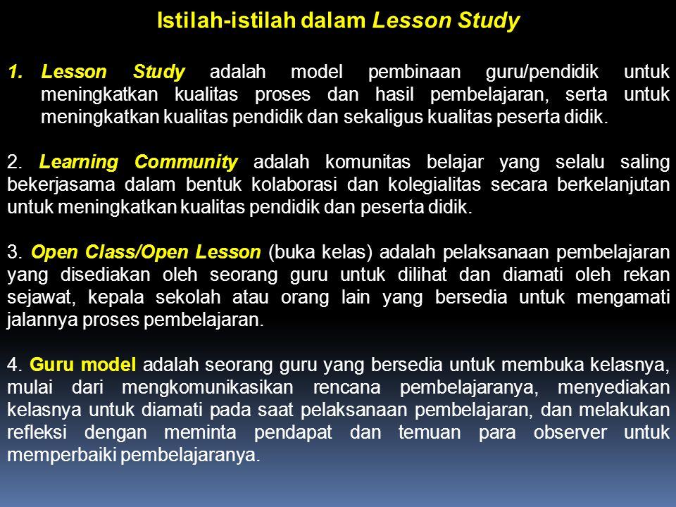 Istilah-istilah dalam Lesson Study 1.Lesson Study adalah model pembinaan guru/pendidik untuk meningkatkan kualitas proses dan hasil pembelajaran, sert