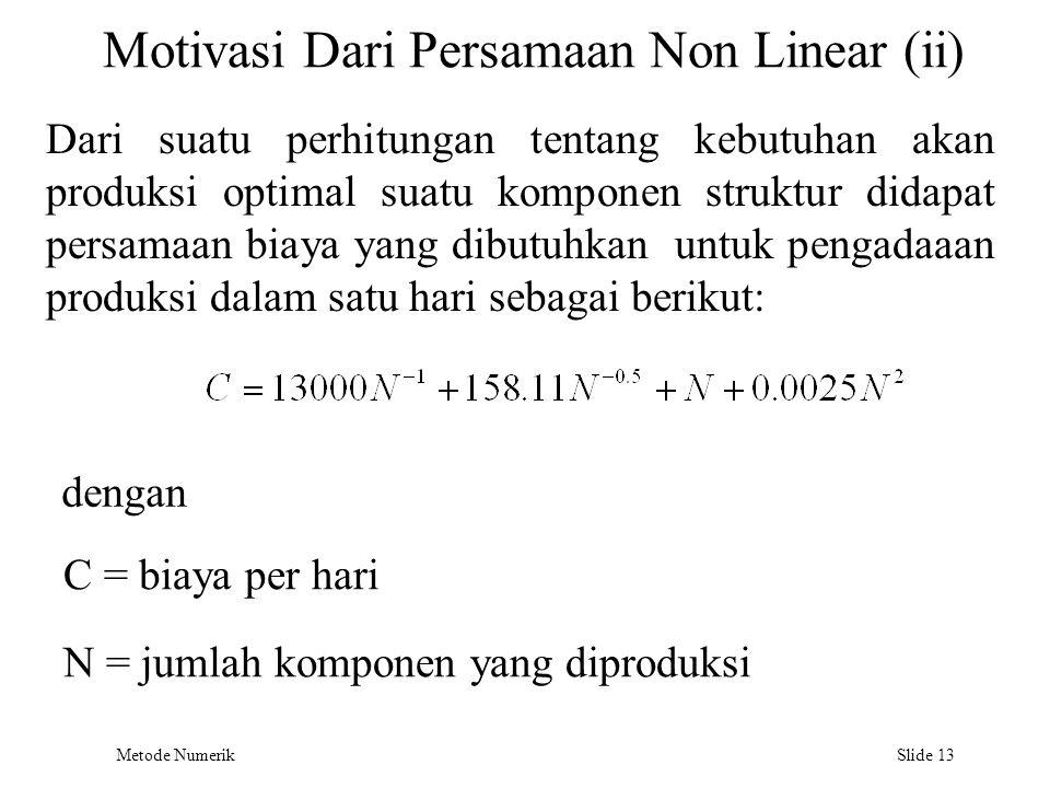 Metode Numerik Slide 13 Motivasi Dari Persamaan Non Linear (ii) Dari suatu perhitungan tentang kebutuhan akan produksi optimal suatu komponen struktur