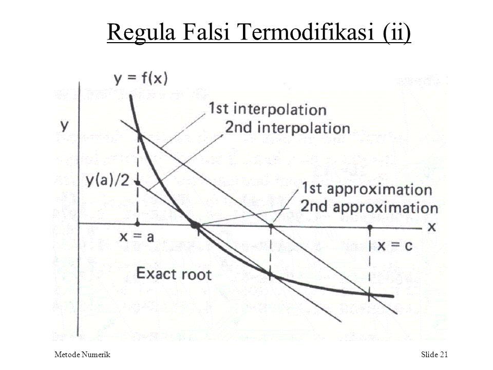 Metode Numerik Slide 21 Regula Falsi Termodifikasi (ii)