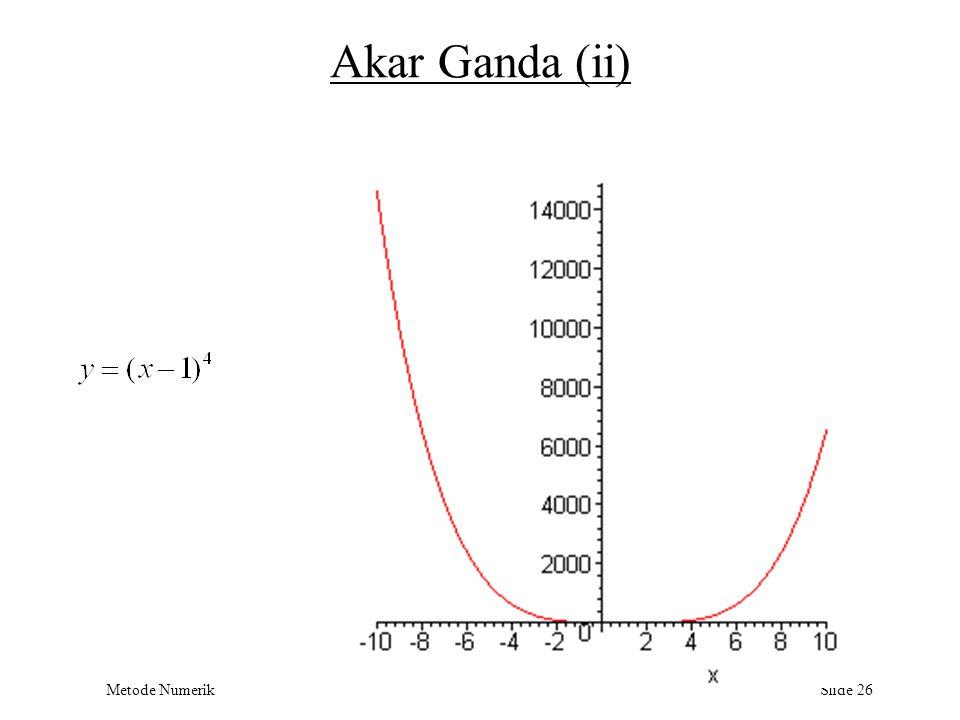 Metode Numerik Slide 26 Akar Ganda (ii)