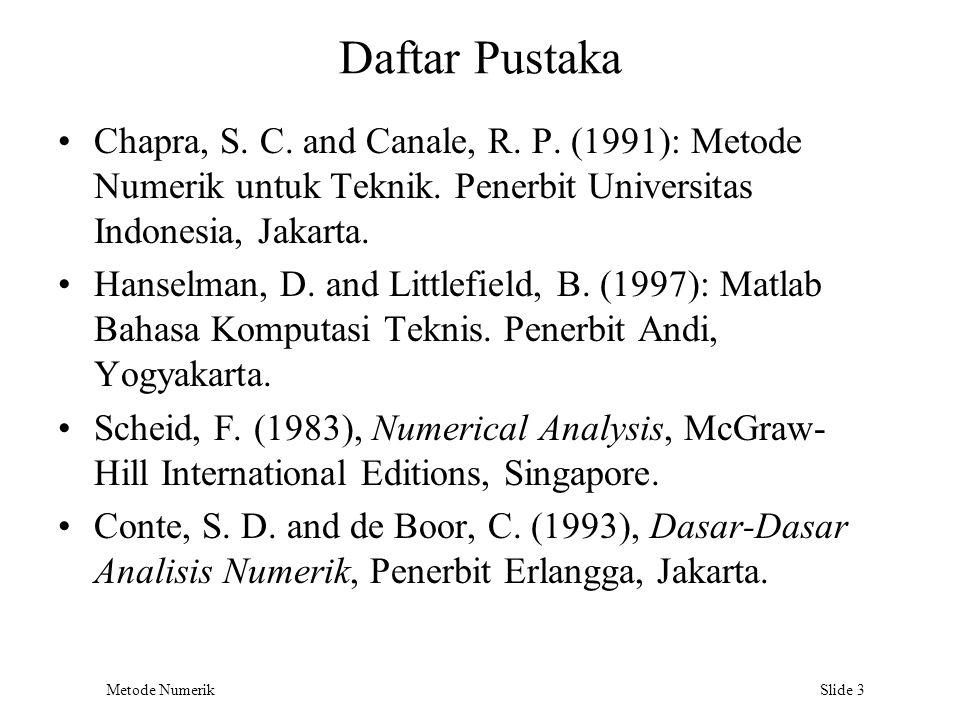 Metode Numerik Slide 3 Daftar Pustaka Chapra, S. C. and Canale, R. P. (1991): Metode Numerik untuk Teknik. Penerbit Universitas Indonesia, Jakarta. Ha