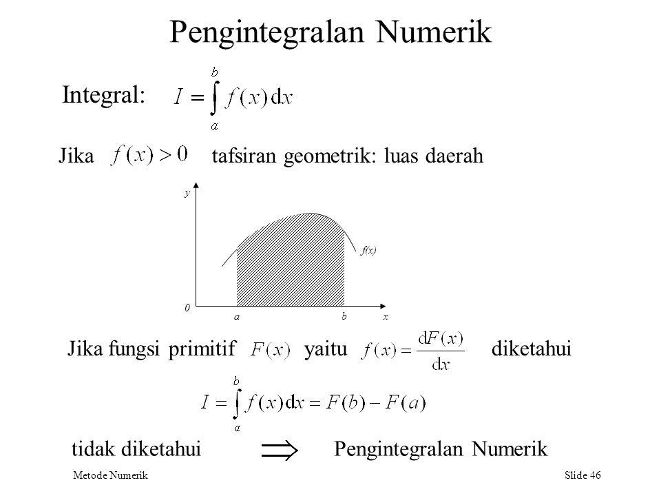 Metode Numerik Slide 46 Pengintegralan Numerik Integral: Jika fungsi primitifyaitu tidak diketahuiPengintegralan Numerik tafsiran geometrik: luas daer