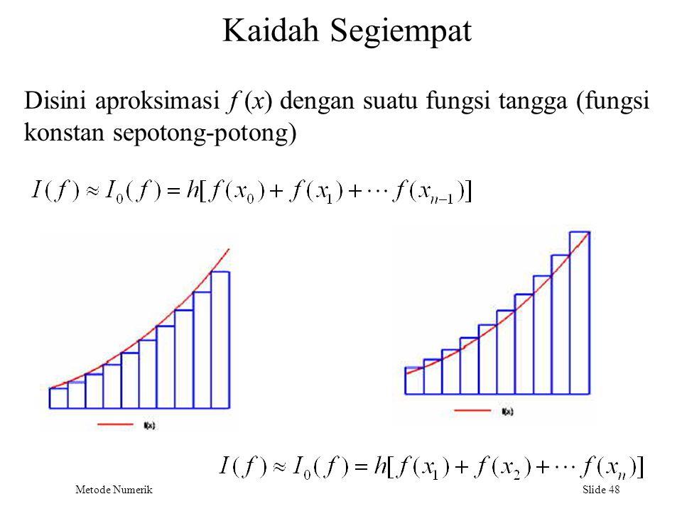 Metode Numerik Slide 48 Kaidah Segiempat Disini aproksimasi f (x) dengan suatu fungsi tangga (fungsi konstan sepotong-potong)