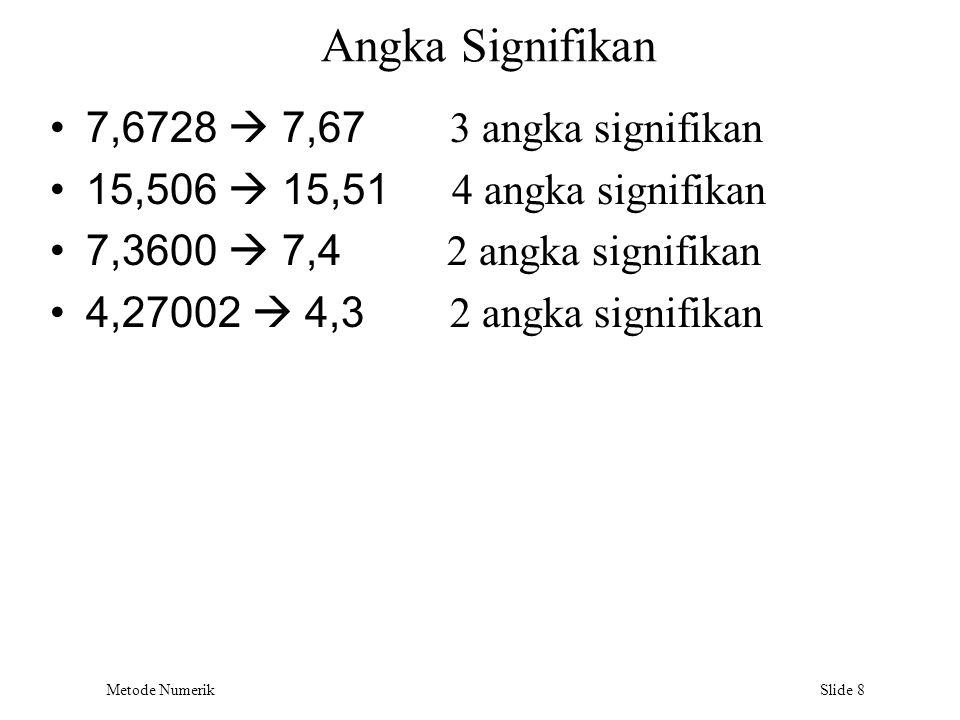 Metode Numerik Slide 8 Angka Signifikan 7,6728  7,67 3 angka signifikan 15,506  15,51 4 angka signifikan 7,3600  7,4 2 angka signifikan 4,27002  4
