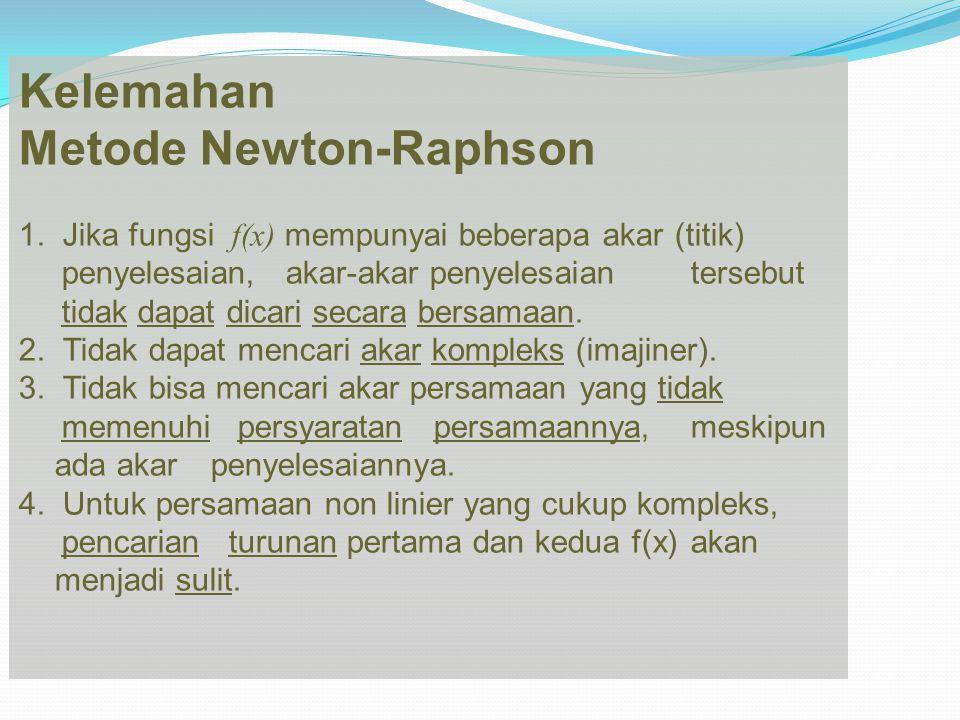 Kelemahan Metode Newton-Raphson 1. Jika fungsi f(x) mempunyai beberapa akar (titik) penyelesaian, akar-akar penyelesaian tersebut tidak dapat dicari s