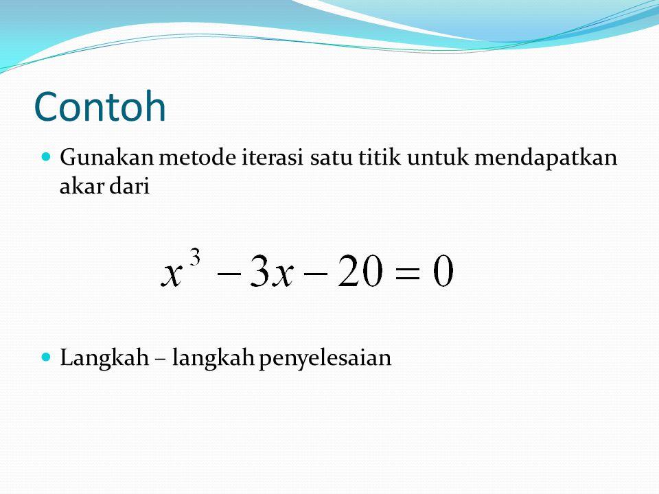 menyusun kembali persamaan tersebut dalam bentuk x=g(x). ………. (1) ………. (2) ………. (3) ………. (4)