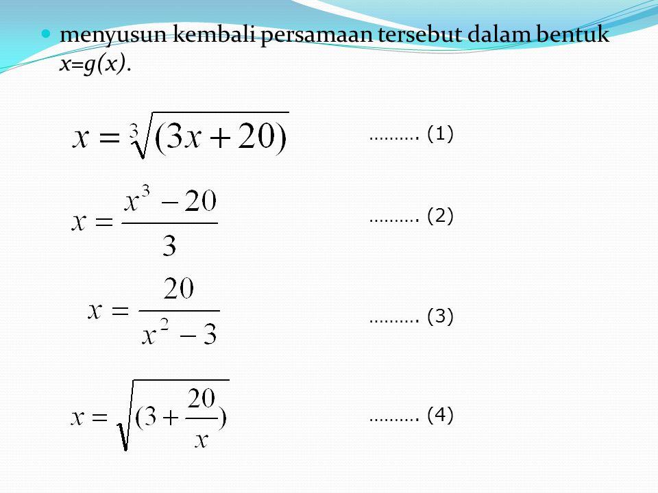 Dari rumusan pertama dapat dinyatakan persamaan iterasinya sebagai dengan n = 1,2,3,.....
