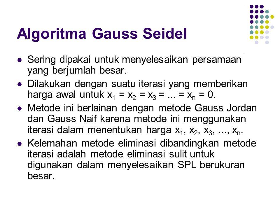 Algoritma Gauss Seidel Sering dipakai untuk menyelesaikan persamaan yang berjumlah besar. Dilakukan dengan suatu iterasi yang memberikan harga awal un