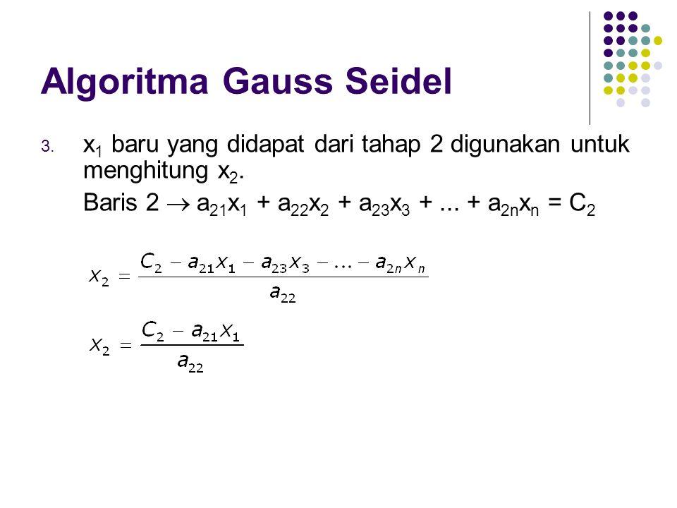 Algoritma Gauss Seidel 3. x 1 baru yang didapat dari tahap 2 digunakan untuk menghitung x 2. Baris 2  a 21 x 1 + a 22 x 2 + a 23 x 3 +... + a 2n x n