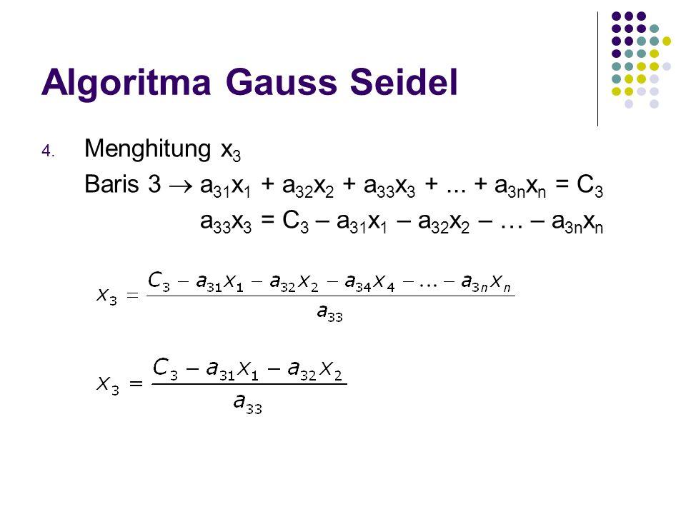 Algoritma Gauss Seidel 4. Menghitung x 3 Baris 3  a 31 x 1 + a 32 x 2 + a 33 x 3 +... + a 3n x n = C 3 a 33 x 3 = C 3 – a 31 x 1 – a 32 x 2 – … – a 3