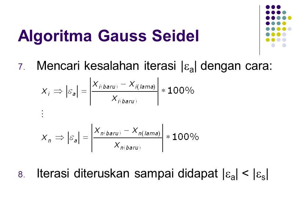 Algoritma Gauss Seidel 7. Mencari kesalahan iterasi |  a | dengan cara: 8. Iterasi diteruskan sampai didapat |  a | < |  s |