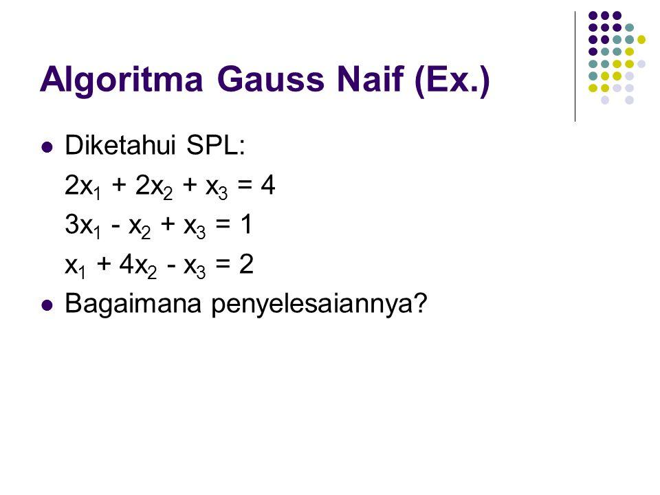 Algoritma Gauss Naif (Ex.) Diketahui SPL: 2x 1 + 2x 2 + x 3 = 4 3x 1 - x 2 + x 3 = 1 x 1 + 4x 2 - x 3 = 2 Bagaimana penyelesaiannya?
