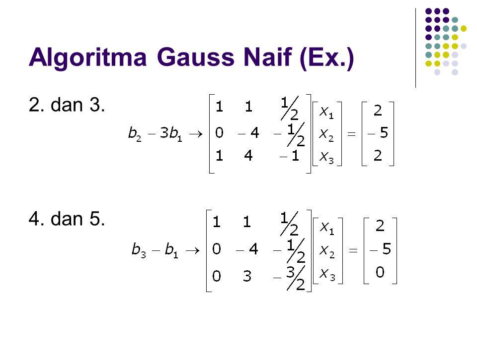 Algoritma Gauss Naif (Ex.) 2. dan 3. 4. dan 5.