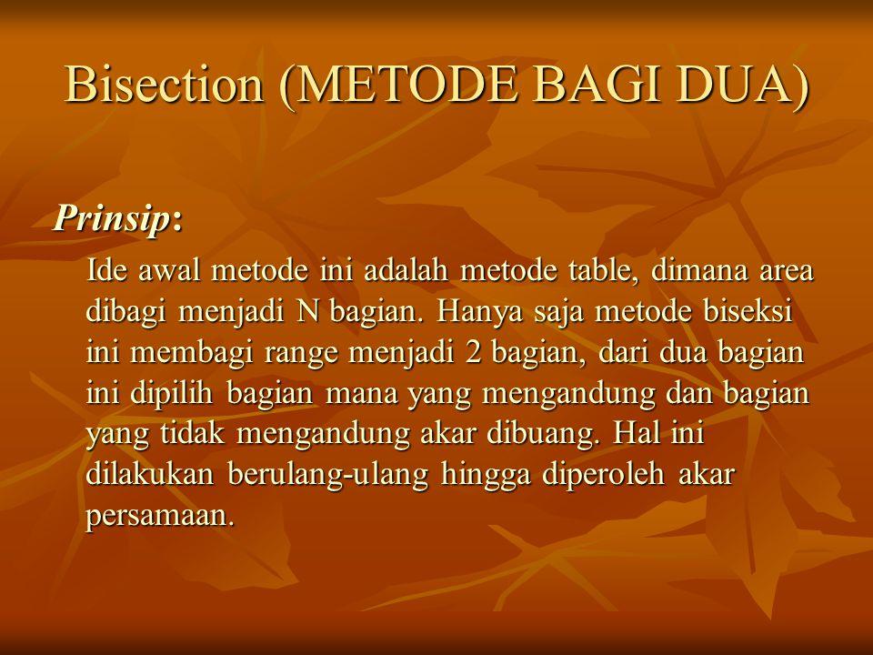 Bisection (METODE BAGI DUA) Prinsip: Ide awal metode ini adalah metode table, dimana area dibagi menjadi N bagian. Hanya saja metode biseksi ini memba