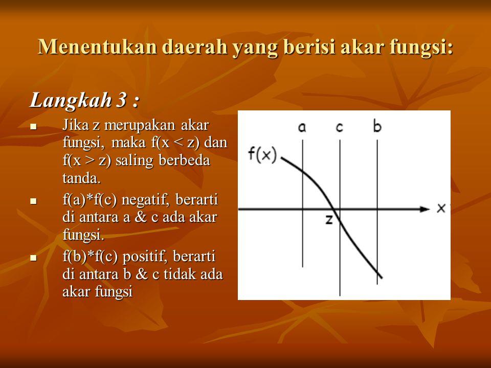 Menentukan daerah yang berisi akar fungsi: Langkah 3 : Jika z merupakan akar fungsi, maka f(x z) saling berbeda tanda. Jika z merupakan akar fungsi, m