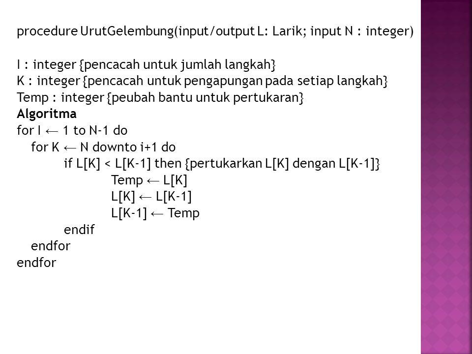 procedure UrutGelembung(input/output L: Larik; input N : integer) I : integer {pencacah untuk jumlah langkah} K : integer {pencacah untuk pengapungan