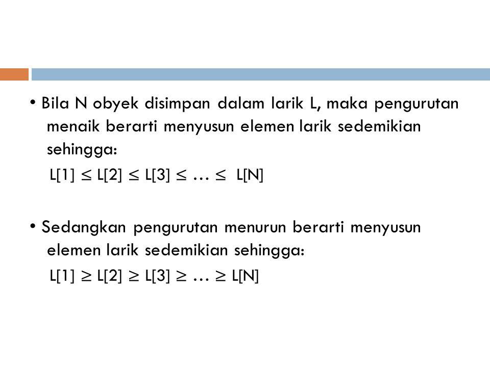 Bila N obyek disimpan dalam larik L, maka pengurutan menaik berarti menyusun elemen larik sedemikian sehingga: L[1] ≤ L[2] ≤ L[3] ≤ … ≤ L[N] Sedangkan