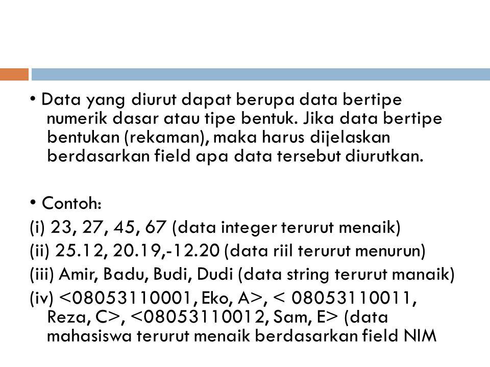 Procedure Asc_Selection; Var min, pos : byte ; Begin for i := 1 to max – 1 do Begin pos := i ; for j := i+1 to max do If data [j] < data [pos] then pos := j; If i <> pos then TukarData(data[i], data [pos]); End; Sedang untuk pengurutan secara descending dilakukan dengan mengganti baris Ke-8 if data [pos] < data [j] then pos := j;