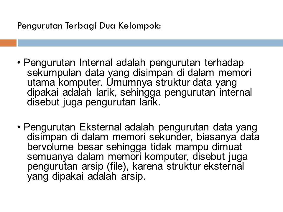 Metode Pengurutan Data 1.Bubble/Exchange Sort 2. Selection Sort( Maximum/Minimum Sort ) 3.