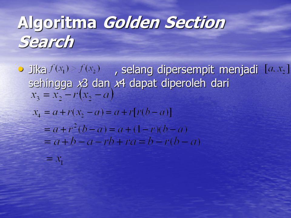 Algoritma Golden Section Search Jika, selang dipersempit menjadi sehingga x3 dan x4 dapat diperoleh dari Jika, selang dipersempit menjadi sehingga x3
