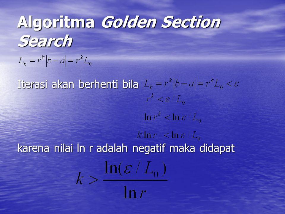 Algoritma Golden Section Search Iterasi akan berhenti bila karena nilai ln r adalah negatif maka didapat