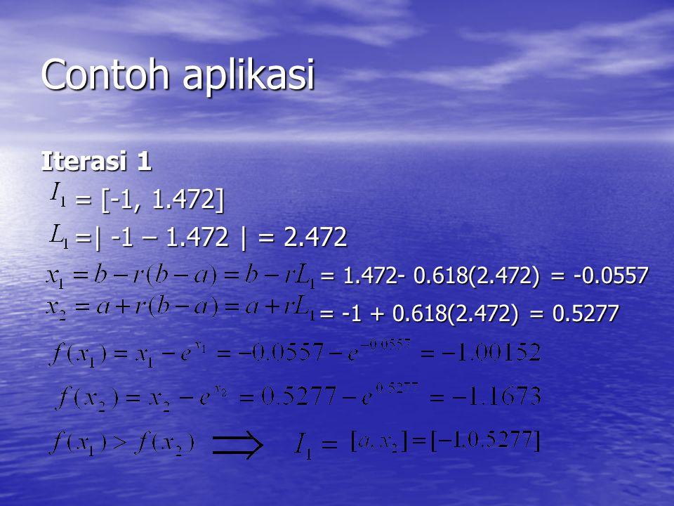 Contoh aplikasi Iterasi 1 = [-1, 1.472] = [-1, 1.472] =| -1 – 1.472 | = 2.472 =| -1 – 1.472 | = 2.472 = 1.472- 0.618(2.472) = -0.0557 = 1.472- 0.618(2