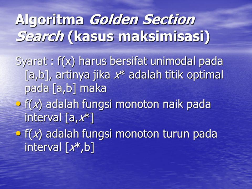 Algoritma Golden Section Search (kasus maksimisasi) Syarat : f(x) harus bersifat unimodal pada [a,b], artinya jika x* adalah titik optimal pada [a,b]