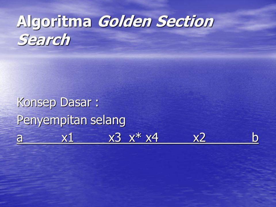 Algoritma Golden Section Search Konsep Dasar : Penyempitan selang a x1 x3 x* x4 x2 b