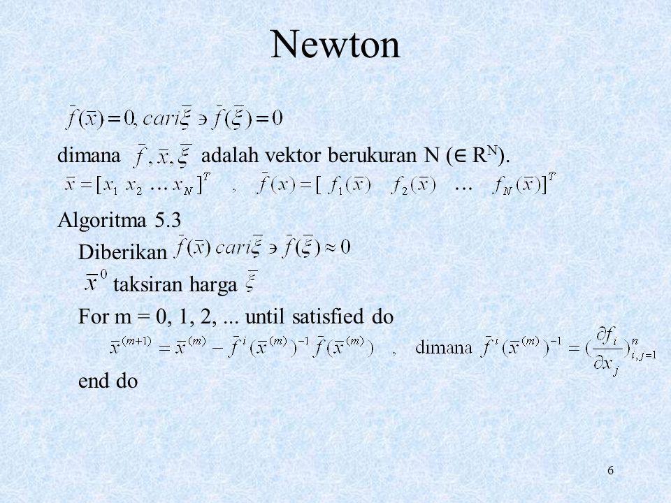 7 Newton Perhatikan  SPL Algoritma 5.3 1 Diberikan, taksiran awal For m = 0, 1, 2,...