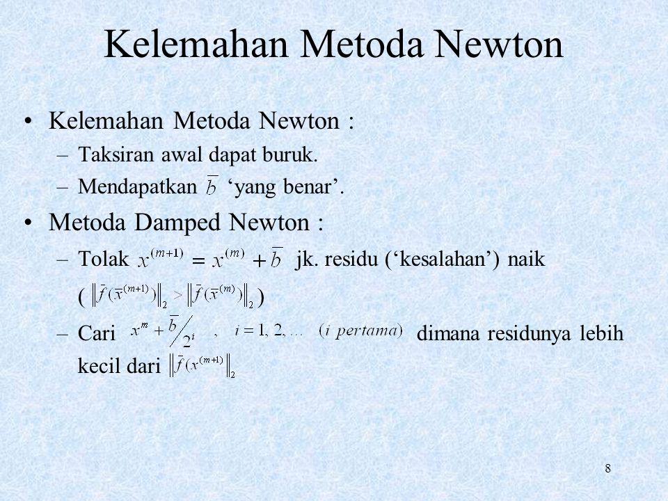 8 Kelemahan Metoda Newton Kelemahan Metoda Newton : –Taksiran awal dapat buruk. –Mendapatkan 'yang benar'. Metoda Damped Newton : –Tolak jk. residu ('