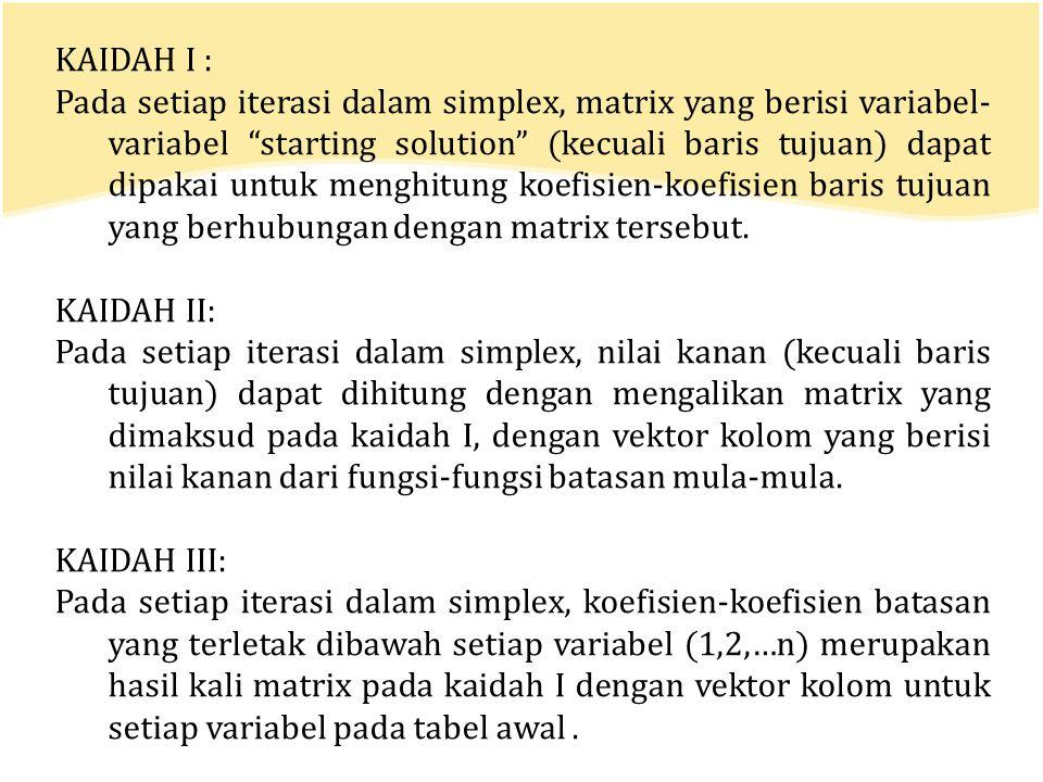 "KAIDAH I : Pada setiap iterasi dalam simplex, matrix yang berisi variabel- variabel ""starting solution"" (kecuali baris tujuan) dapat dipakai untuk men"
