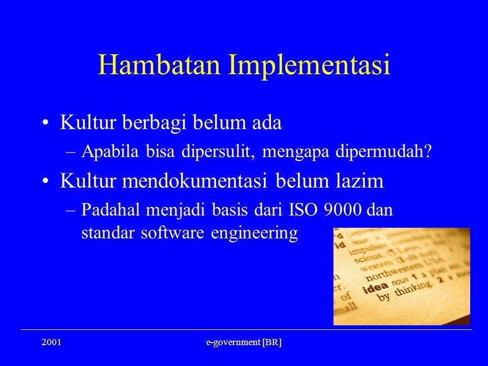 2001e-government [BR] Hambatan Implementasi Kultur berbagi belum ada –Apabila bisa dipersulit, mengapa dipermudah? Kultur mendokumentasi belum lazim –