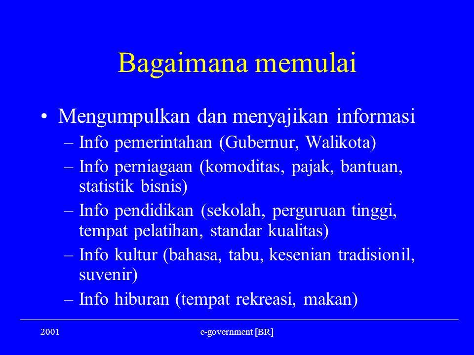 2001e-government [BR] Bagaimana memulai Mengumpulkan dan menyajikan informasi –Info pemerintahan (Gubernur, Walikota) –Info perniagaan (komoditas, paj