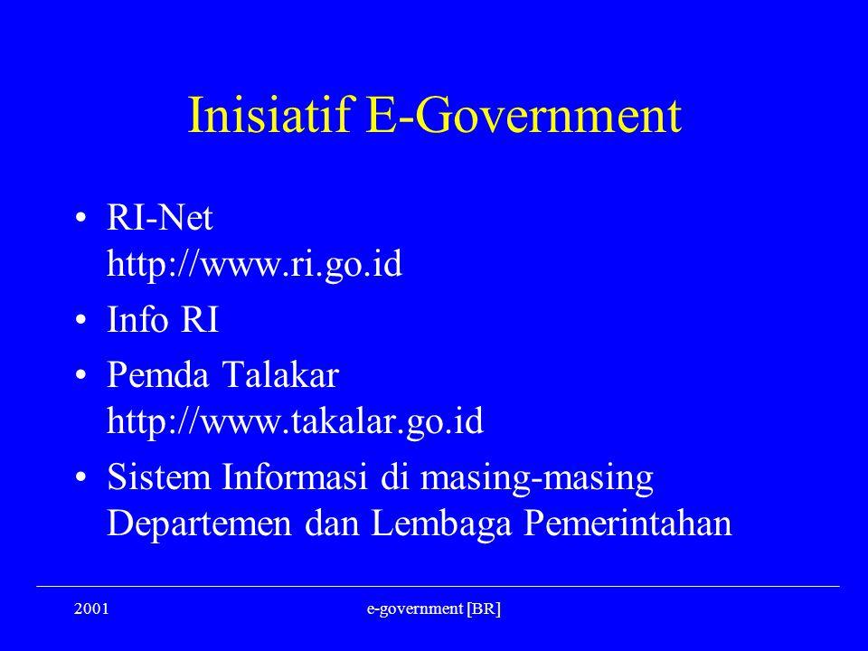 2001e-government [BR] Inisiatif E-Government RI-Net http://www.ri.go.id Info RI Pemda Talakar http://www.takalar.go.id Sistem Informasi di masing-masi