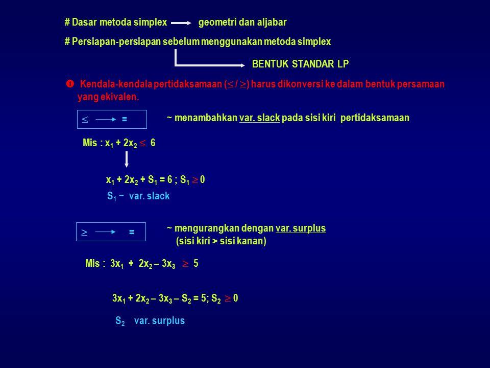 Z :-3-50000 Pivot baru :0101/206 -3101/206 (-5) X 3 :101004 Pivot baru :0101/206 101004 (0) e)Menghitung nilai baris lainnya * baris lama - (koefisien kolom pivot) * nilai baru baris pivot * nilai pada kolom pivot = 0 baris pivot baru : 0 1 0 ½ 0 6 d)Menghitung baris pivot baru ~ membagi semua nilai pada baris pivot dengan pivot baris pivot lama : 0 2 0 1 0 12 : 2 X 5 :3200118 Pivot baru :0101/206 30016 (2)