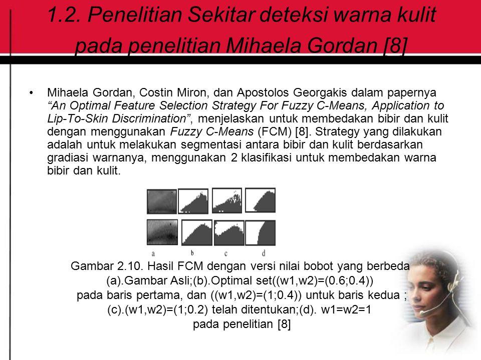 """1.2. Penelitian Sekitar deteksi warna kulit pada penelitian Mihaela Gordan [8] Mihaela Gordan, Costin Miron, dan Apostolos Georgakis dalam papernya """"A"""