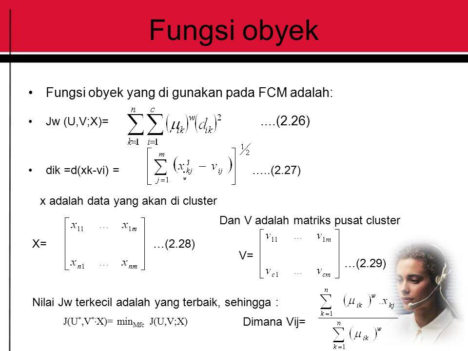 Fungsi obyek Fungsi obyek yang di gunakan pada FCM adalah: Jw (U,V;X)=....(2.26) dik =d(xk-vi) = …..(2.27) x adalah data yang akan di cluster X=…(2.28