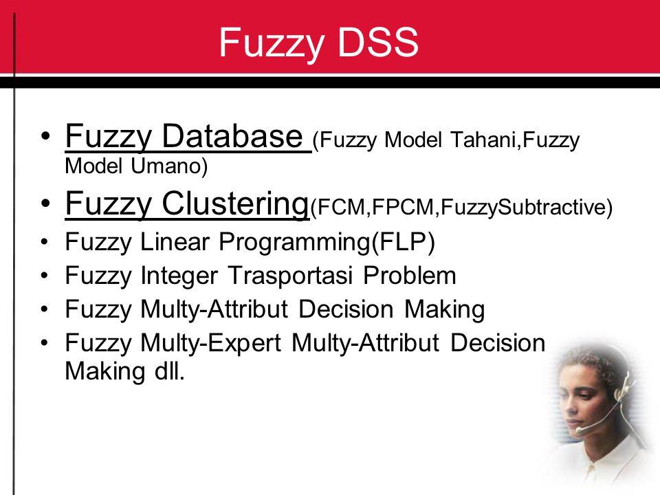 Fuzzy DSS Fuzzy Database (Fuzzy Model Tahani,Fuzzy Model Umano) Fuzzy Clustering (FCM,FPCM,FuzzySubtractive) Fuzzy Linear Programming(FLP) Fuzzy Integ