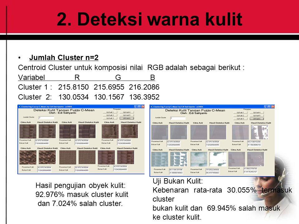 2. Deteksi warna kulit Jumlah Cluster n=2 Centroid Cluster untuk komposisi nilai RGB adalah sebagai berikut : Variabel R G B Cluster 1 : 215.8150 215.