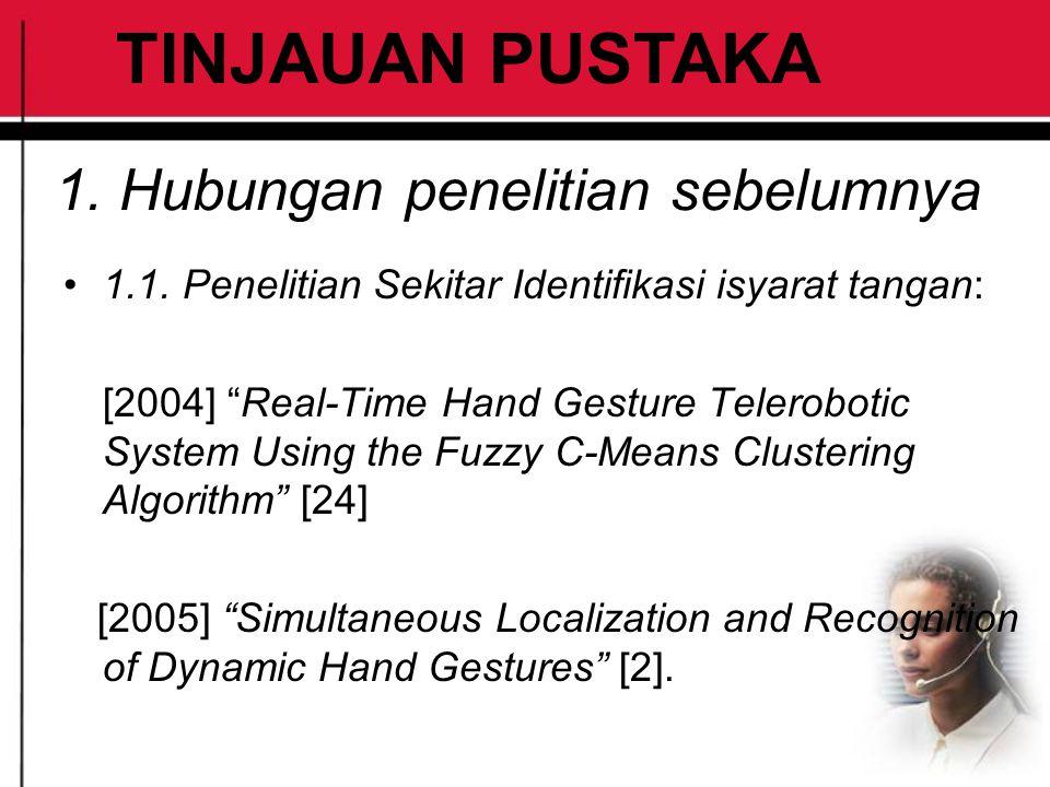 """1. Hubungan penelitian sebelumnya 1.1. Penelitian Sekitar Identifikasi isyarat tangan: [2004] """"Real-Time Hand Gesture Telerobotic System Using the Fuz"""