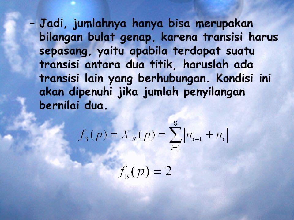 –Jadi, jumlahnya hanya bisa merupakan bilangan bulat genap, karena transisi harus sepasang, yaitu apabila terdapat suatu transisi antara dua titik, haruslah ada transisi lain yang berhubungan.
