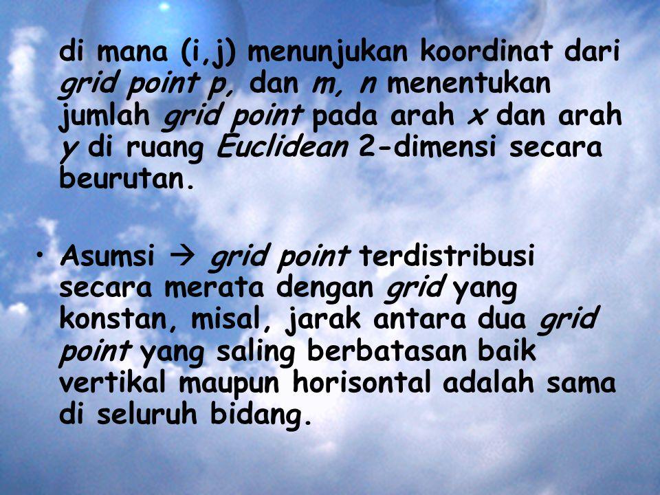 di mana (i,j) menunjukan koordinat dari grid point p, dan m, n menentukan jumlah grid point pada arah x dan arah y di ruang Euclidean 2-dimensi secara beurutan.