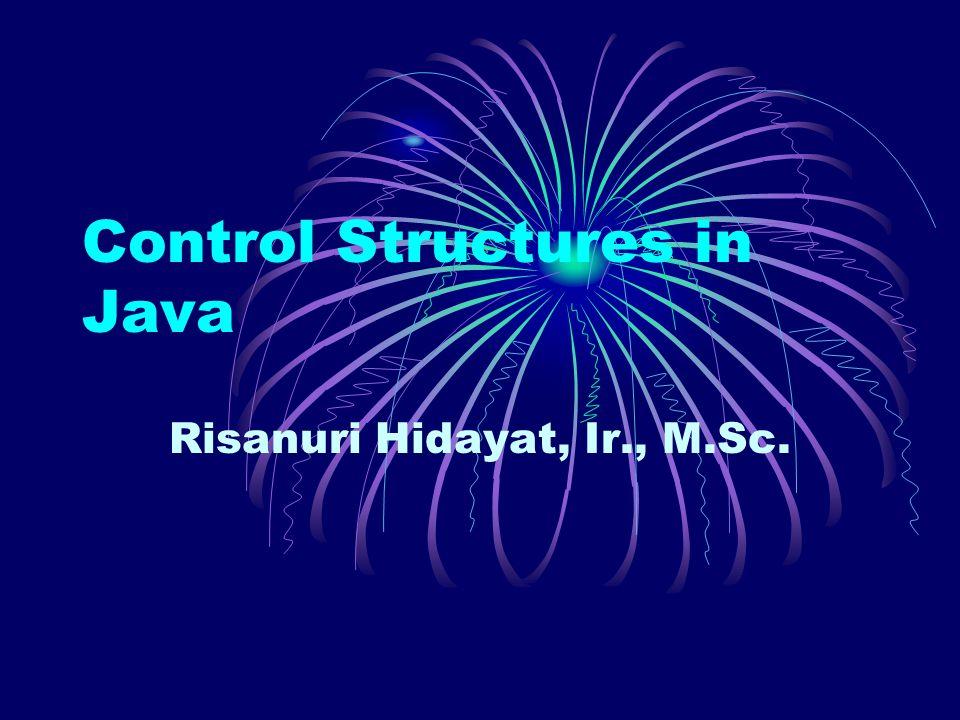 Control Structures in Java Risanuri Hidayat, Ir., M.Sc.