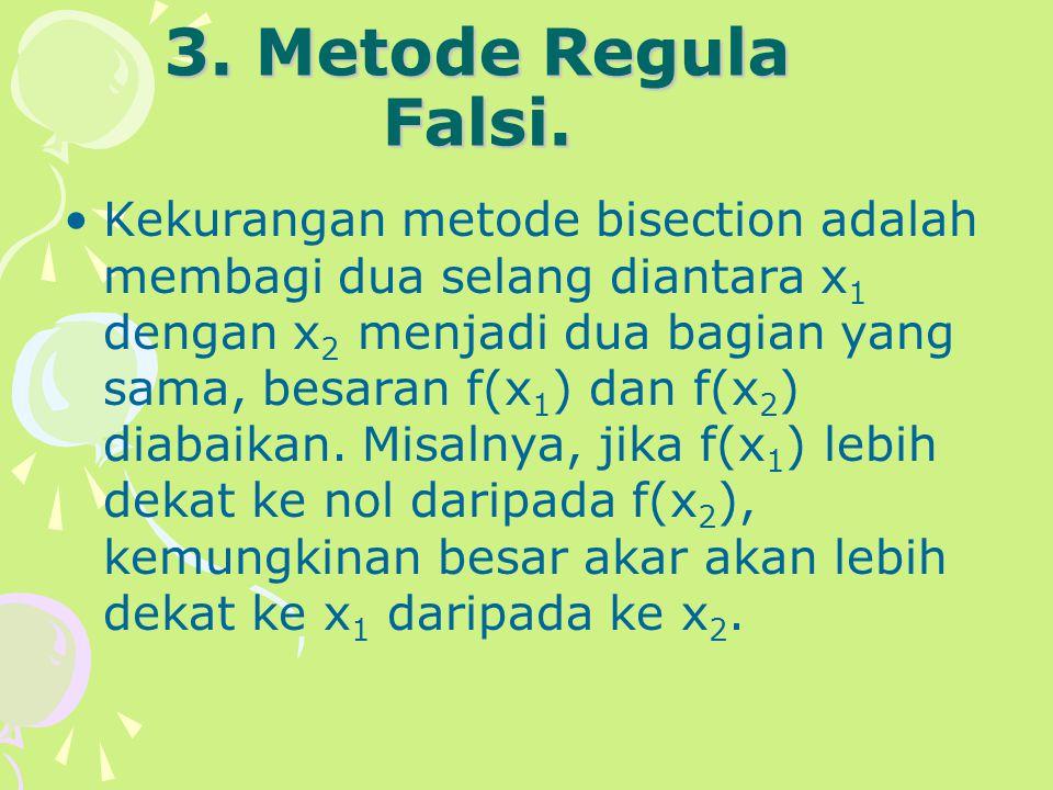 3. Metode Regula Falsi. Kekurangan metode bisection adalah membagi dua selang diantara x 1 dengan x 2 menjadi dua bagian yang sama, besaran f(x 1 ) da