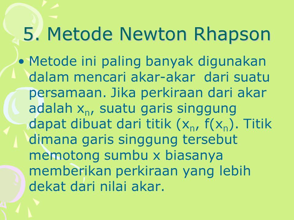 5. Metode Newton Rhapson Metode ini paling banyak digunakan dalam mencari akar-akar dari suatu persamaan. Jika perkiraan dari akar adalah x n, suatu g