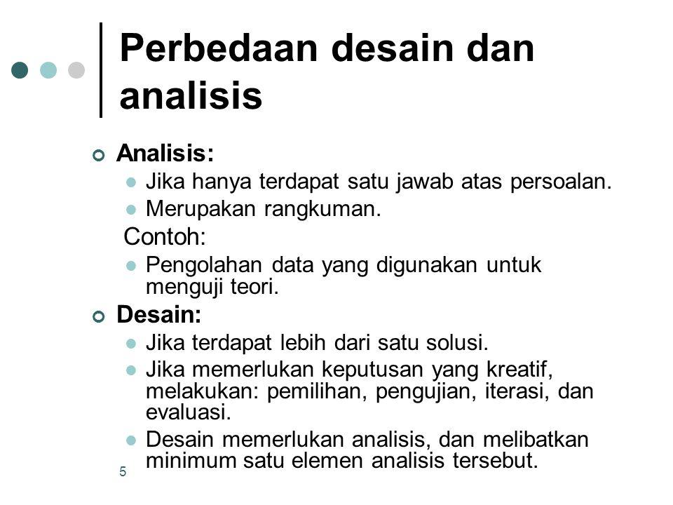 5 Perbedaan desain dan analisis Analisis: Jika hanya terdapat satu jawab atas persoalan. Merupakan rangkuman. Contoh: Pengolahan data yang digunakan u